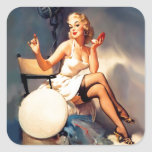 She's a Starlet Pin Up Girl Square Sticker
