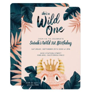 She's a Wild One Pink Monster & Tropical Jungle Invitation