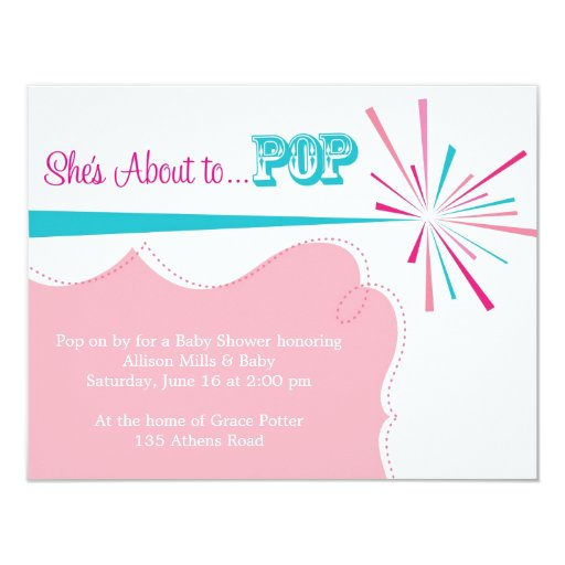 "She's About to POP Baby Shower Invitation 4.25"" X 5.5"" Invitation Card"