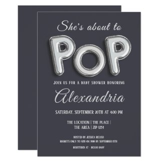 Shes About To Pop (silver) Baby Shower Unisex