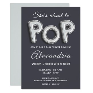 Shes About To Pop (silver) Baby Shower Unisex Invitation