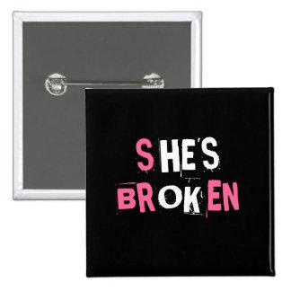She's broken/He's ok 2 Inch Square Button