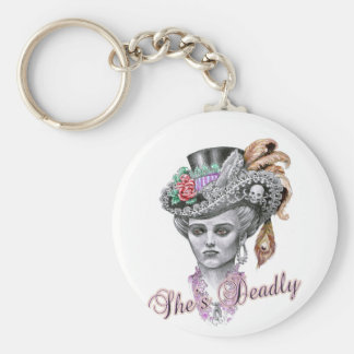 She's Deadly Basic Round Button Keychain