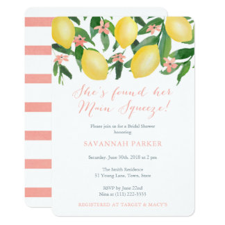 She's Found Her Main Squeeze Lemons Bridal Shower Invitation