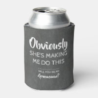 She's Guilty - Funny Groomsman Proposal Can Cooler