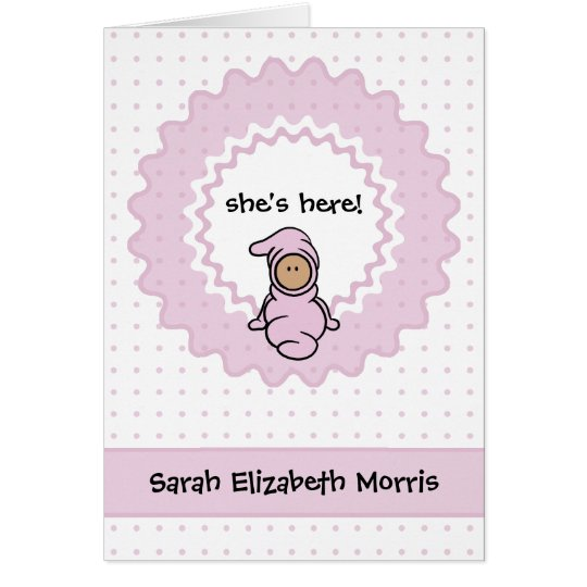 """she's here!"" Baby Girl Birth Anno... - Customized Card"
