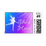 She's Here Baby Girl Postage Stamp