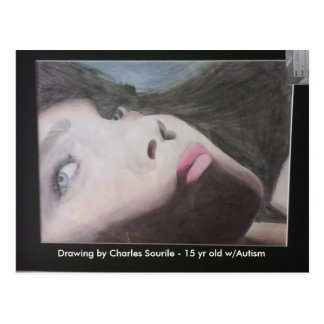 She's looking at you - fighting autism! postcard