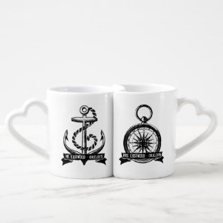 She's My Compass, He's My Anchor Personalized Date Couples Coffee Mug