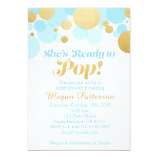 She's Ready to Pop! Blue and Gold 5x7 Paper Invitation Card