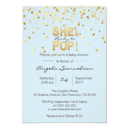 She's Ready to POP Blue Gold Boy Baby Shower Card