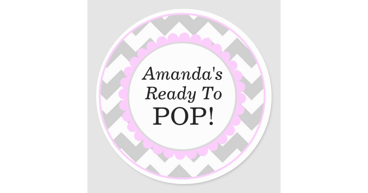 she 39 s ready to pop chevron print baby shower classic round sticker
