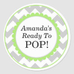 She's Ready to Pop, Chevron Print Baby Shower Stickers