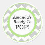 She's Ready to Pop, Chevron Print Baby Shower Stickers