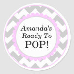 She's Ready to Pop, Chevron Print Baby Shower Round Stickers