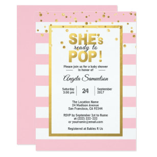 Ready to pop invitations zazzle shes ready to pop gold pink girl baby shower invitation filmwisefo