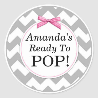 She's Ready to Pop, Gray Chevron, Pink Baby Shower Classic Round Sticker