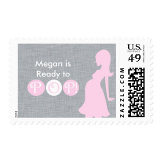 She's Ready to Pop! Personalized Postage Stamp
