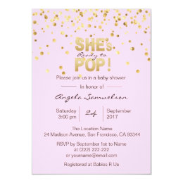 She's Ready to POP Pink Gold Girl Baby Shower Card