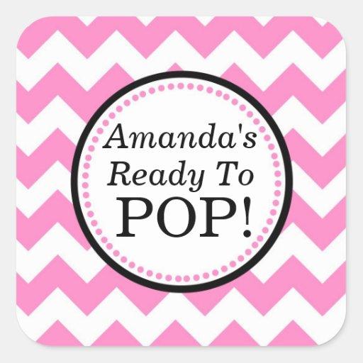 She39s ready to pop square sticker chevron design zazzle for Shes ready to pop stickers