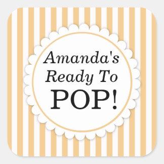 She's Ready to Pop Square sticker - Orange Stripes Sticker