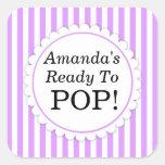 She's Ready to Pop Square sticker - Purple Stripes Square Sticker