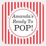 She's Ready to Pop Square sticker - Red Stripes Square Sticker