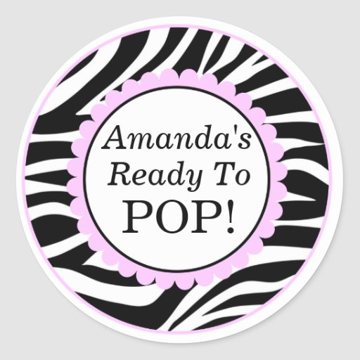 She's Ready to Pop, Zebra Print Baby Shower Stickers