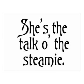 She's the Talk of the Steamie, everyone says so. Postcard