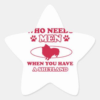 Shetland dog breed designs star sticker