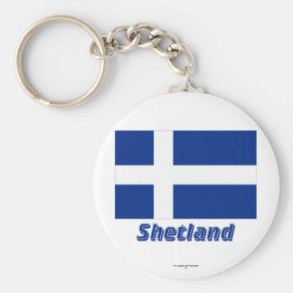 Shetland Flag with Name Basic Round Button Keychain