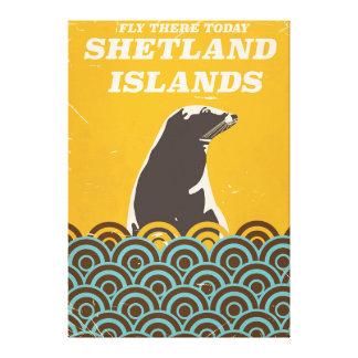 Shetland Islands vintage vacation poster Canvas Print