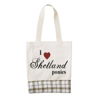 Shetland ponies zazzle HEART tote bag