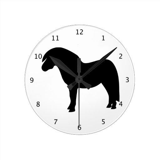 Shetland Pony beautiful black silhouette Round Wallclock