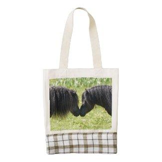 Shetland pony mare and stallion bag zazzle HEART tote bag