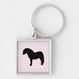 Shetland pony white & pink hearts keychain