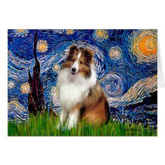 Shetland Sheepdog 4 - Starry Night Card