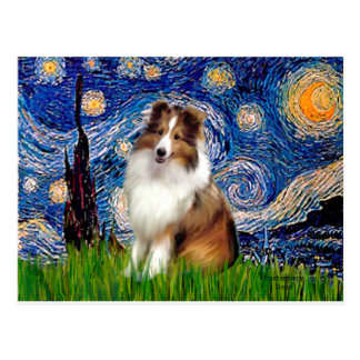 Shetland Sheepdog 4 - Starry Night Postcard
