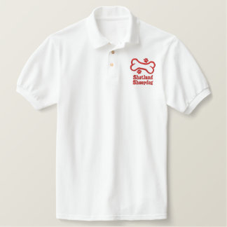 Shetland Sheepdog and Bone-n-Paws Embroidered Polo Shirt