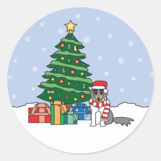 Shetland Sheepdog and Christmas Tree Stickers