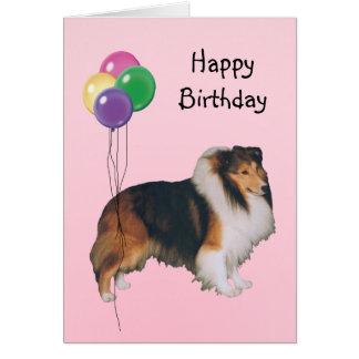 Shetland Sheepdog, Birthday Balloons Card