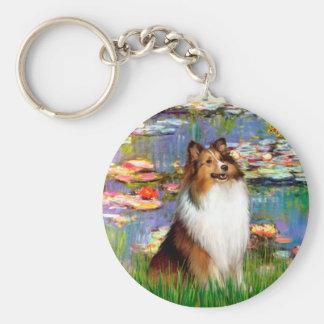 Shetland Sheepdog (Bz) - Lilies 2 Basic Round Button Keychain