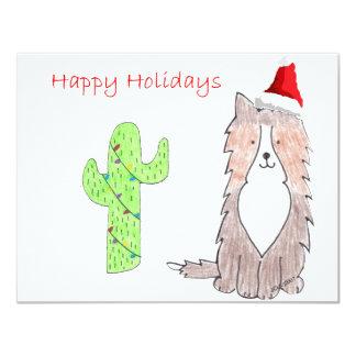 Shetland Sheepdog Cactus Christmas Card
