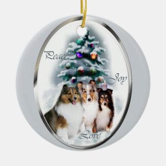 Shetland Sheepdog Christmas Gifts Double-Sided Ceramic Round Christmas Ornament