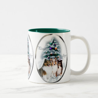Shetland Sheepdog Christmas Gifts Two-Tone Coffee Mug