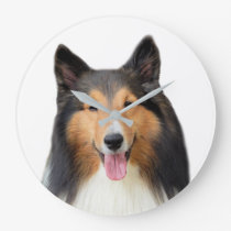 Shetland Sheepdog dog pet animal photography Large Clock