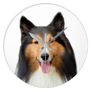 Shetland Sheepdog dog pet animal photography Large Clock