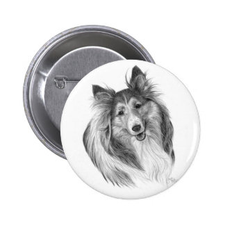 Shetland Sheepdog Drawing by Glenda S. Harlan Pinback Button