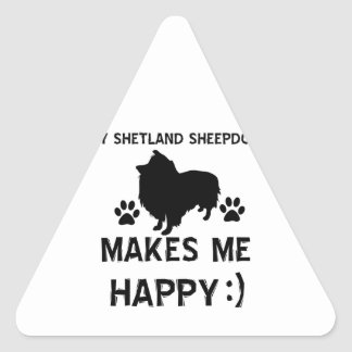shetland sheepdog gift items triangle sticker