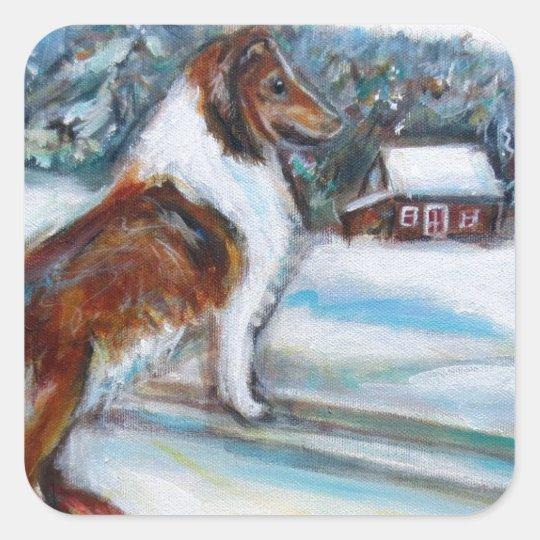 Shetland Sheepdog Holiday Christmas Card Square Sticker
